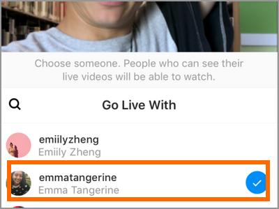 instagram Start Live Video Tap a friend name