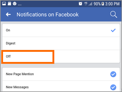 Android Facebook Settings Pages Choose Page More options Edit Settings Notifications On Facebook OFF