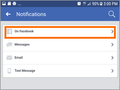 Android Facebook Settings Pages Choose Page More options Edit Settings Notifications On Facebook