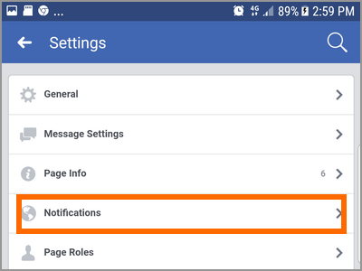 Android Facebook Settings Pages Choose Page More options Edit Settings Notifications