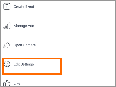 Android Facebook Settings Pages Choose Page More options Edit Settings
