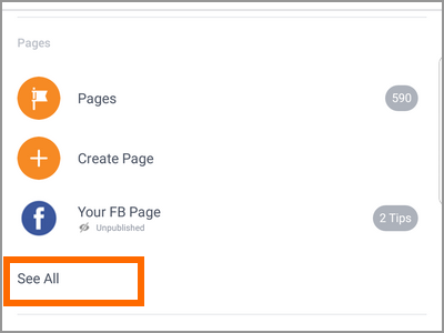 Android Facebook Settings Pages See All