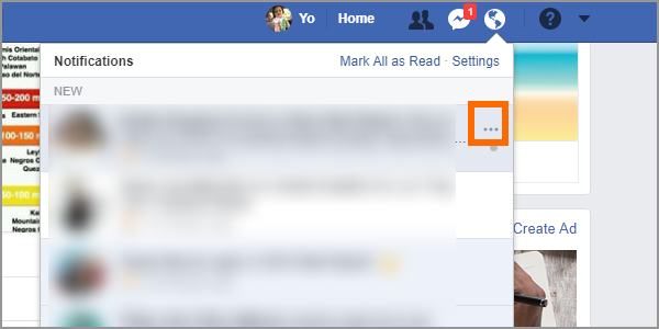 Facebook Notifications More Options