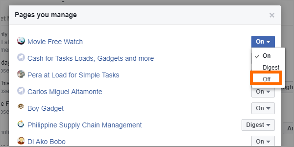 Facebook Web Settings Notifications Edit for Pages You Manage Drop Down OFF