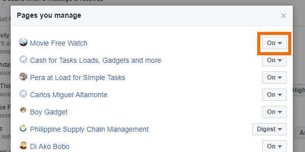 Facebook Web Settings Notifications Edit for Pages You Manage Drop Down