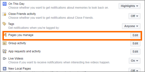 Facebook Web Settings Notifications Edit for Pages You Manage