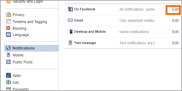 Facebook Web Settings Notifications Edit