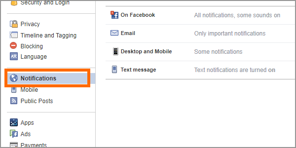 Facebook Web Settings Notifications