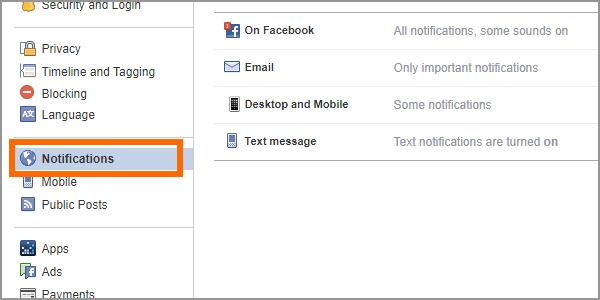 Facebook Web Settings Notifications
