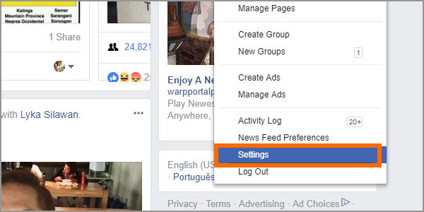 Facebook Web Settings