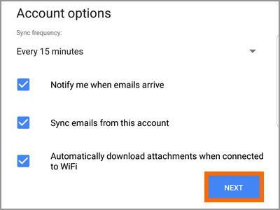 Gmail app account add account other email options NEXT