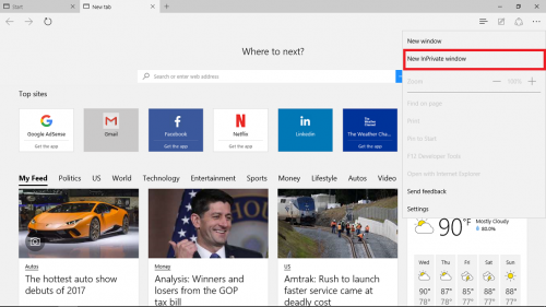 InPrivate in Microsoft Edge