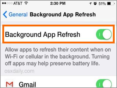 iPhone Background Refresh