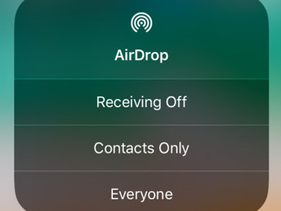 iPhone Control Center Connectivity Tool Box Airdrop options