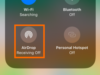 iPhone Control Center Connectivity Tool Box Airdrop