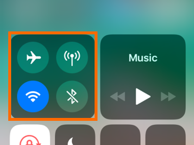 iPhone Control Center Connectivity Tool Box