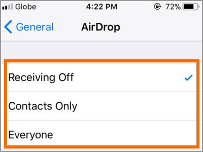 iPhone General Settings AirDrop Options
