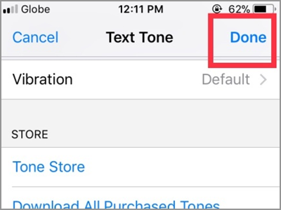iPhone Home Contacts Edit Text Tone Choose Tone DONE