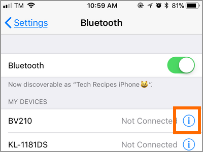 iPhone Settings Bluetooth Device Other Info Button
