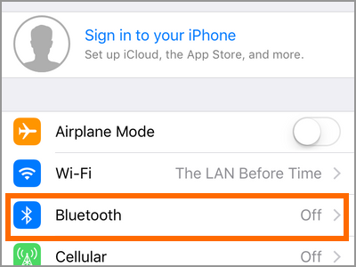 iPhone Settings Bluetooth Menu
