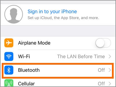 iPhone Settings Bluetooth Menu