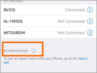 iPhone Settings Bluetooth Scanning