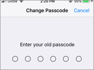 iPhone Settings Touch ID & Passcode Change Passcode Enter Code