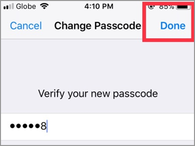 iPhone Settings Touch ID & Passcode Change Passcode Options Custom Code DONE button