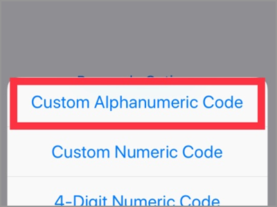 iPhone Settings Touch ID & Passcode Set Passcode Custom Alphanumeric Code