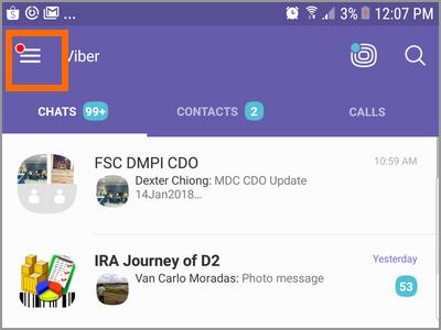 Android Viber Menu