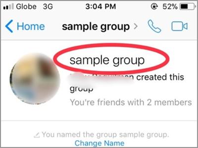 Facebook Messenger Group Name Selected