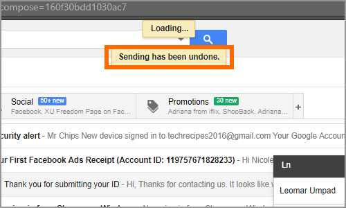 Gmail Message Sent Sending Undone