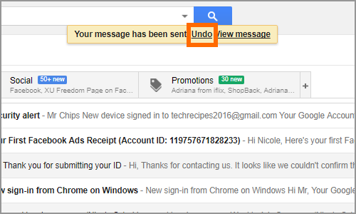 Gmail Message Sent Undo Button