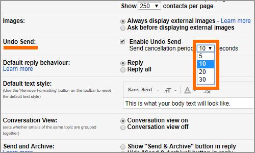 Gmail Settings Menu General Tab Undo Send Time