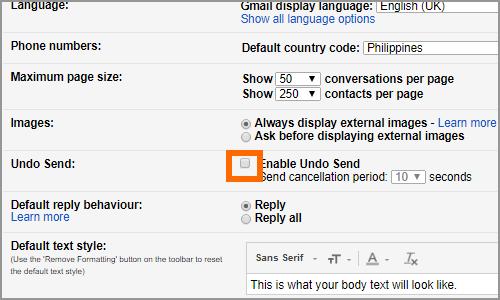 Gmail Settings Menu General Tab Undo Send