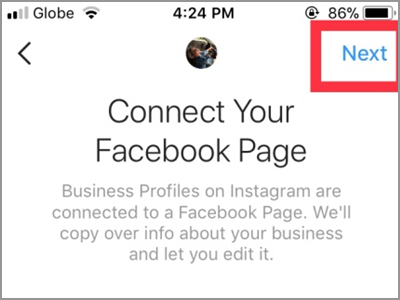 Instagram Account Settings Switch to Business Profile Connect to Facebook Choose Page Next