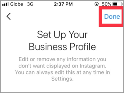 Instagram Account Settings Switch to Business Profile Connect to Facebook Private Account Change Privacy Done
