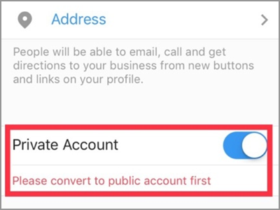 Instagram Account Settings Switch to Business Profile Connect to Facebook Private Account