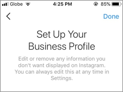 Instagram Account Settings Switch to Business Profile Connect to Facebook Setup Account