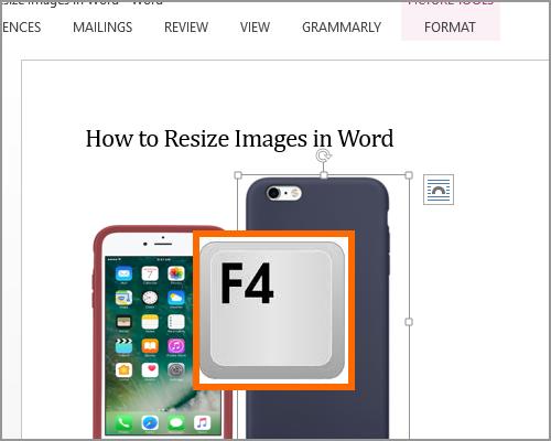 Resize Image Select new image Press F4