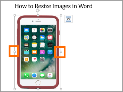 Resize Word Image Selected Left and Right Handles