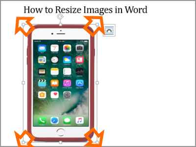 Resize Word Image Selected Move Diagonal