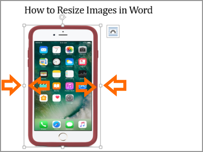 Resize Word Image Selected Move Left or Right