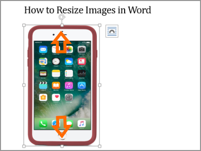 Resize Word Image Selected Move Up or Down