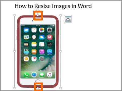 Resize Word Image Selected top and bottom handle