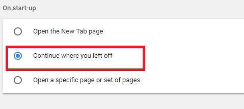 restore last session on google chrome