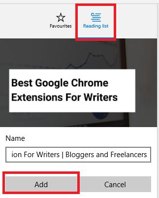 Add Website To Microsoft Edge Reading List