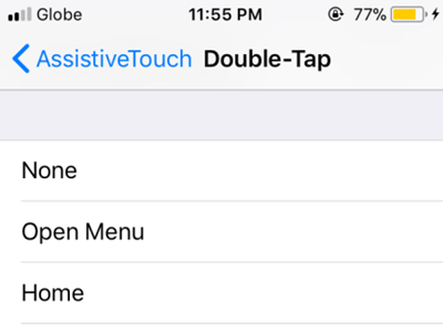 iPhone Assisitive Touch Custom Actions Double Tap options