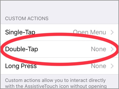 iPhone Assisitive Touch Custom Actions Double Tap