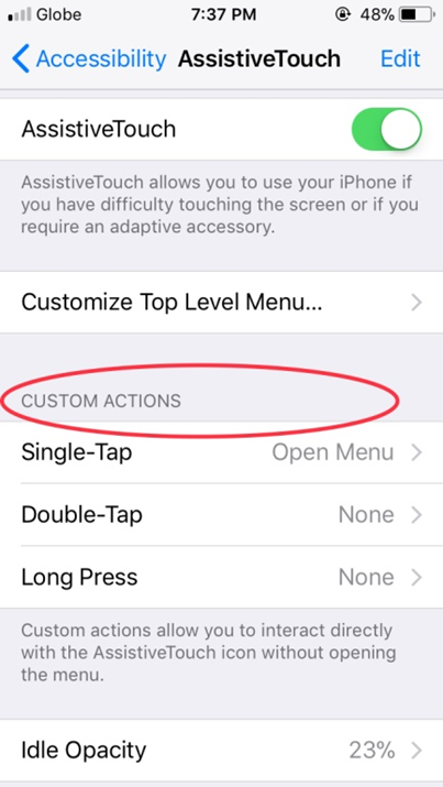 iPhone Assisitive Touch Custom Actions2